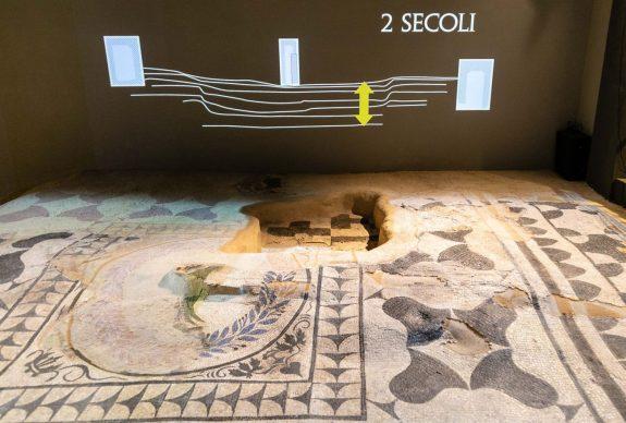 La scatola archeologica della Domus Aventino, allestimento multimediale, mosaici. Crediti Soprintendenza Speciale di Roma