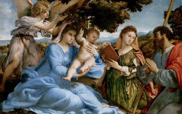 Lorenzo Lotto (Venezia circa 1480-Loreto circa 1556), Sacra Conversazione con i santi Caterina e Tommaso, 1526-28. Courtesy Vienna, Kunsthistorisches Museum, Gemäldegalerie, inv. GG 101
