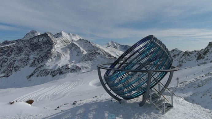 Olafur Eliasson, Our glacial perspectives, 2020. Steel, coloured glass Installation view Grawand Mountain, Hochjochferner glacier, South Tyrol. Photo David Orru. Commissioned by Talking Waters Society © 2020 Olafur Eliasson