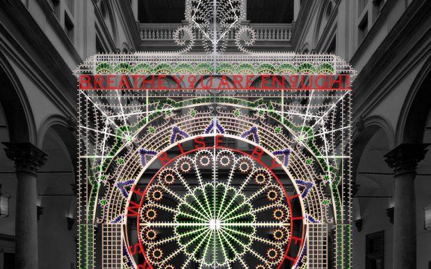 rendering dell'installazione per il Cortile di Palazzo Strozzi realizzato da Prospettica
