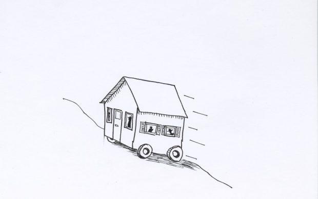 David Byrne, Movin' On Up, 2020, fadeproof waterproof ink on archival paper, 21.6 cm × 27.9 cm, paper 27.9 cm × 35.6 cm, frame No. 76224 © David Byrne, courtesy Pace Gallery