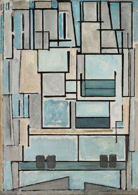 Piet Mondrian, Composition No. VI (Composition 9, Blue Façade), 1914 Oil on canvas, 95,5 x 68,0 cm. Fondation Beyeler, Riehen / Basel, Beyeler Collection © Mondrian /Holtzman Trust c/o HCR International Warrenton, VA USA Photo Robert Bayer, Basel