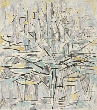 Piet Mondrian, Composition No. XVI (Compositie I, Arbres), 1912–1913 Oil on canvas, 85,5 x 75,0 cm. Fondation Beyeler, Riehen / Basel, Beyeler Collection © Mondrian /Holtzman Trust c/o HCR International Warrenton, VA USA. Photo Robert Bayer, Basel