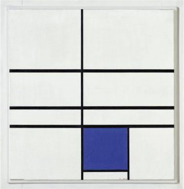Piet Mondrian. Composition with Double Line and Blue, 1935. © Mondrian /Holtzman Trust c/o HCR International Warrenton, VA USA Photo Robert Bayer, Basel