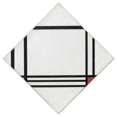 Piet Mondrian, Lozenge Composition with Eight Lines and Red (Picture No. III), 1938 Oil on canvas, 100,5 x 100,5 cm. Fondation Beyeler, Riehen / Basel, Beyeler Collection © Mondrian / Holtzman Trust c/o HCR International Warrenton, VA USA Photo Robert Bayer, Basel