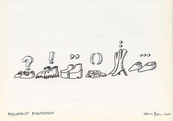 David Byrne, Podiatrist Punctuation, 2020, fadeproof waterproof ink on archival paper, 19.1 cm × 25.4 cm, paper 27.9 cm × 35.6 cm, frame No. 76202 © David Byrne, courtesy Pace Gallery