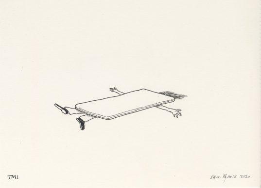 David Byrne, T.M.I., 2020, fadeproof waterproof ink on archival paper, 19.1 cm × 25.4 cm, paper 27.9 cm × 35.6 cm, frame No. 76206 © David Byrne, courtesy Pace Gallery