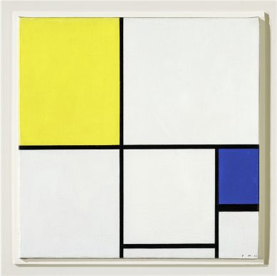 Piet Mondrian, Composition with Yellow and Blue, 1932 Oil on canvas, 55,5 x 55,5 cm. Fondation Beyeler, Riehen / Basel, Beyeler Collection; acquired with a contribution by Hartmann P. und Cécile Koechlin-Tanner, Riehen © Mondrian / Holtzman Trust c/o HCR International Warrenton, VA USA Photo Robert Bayer, Basel