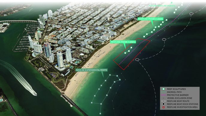 The Reefline, Masterplan Aerial. Render courtesy OMA