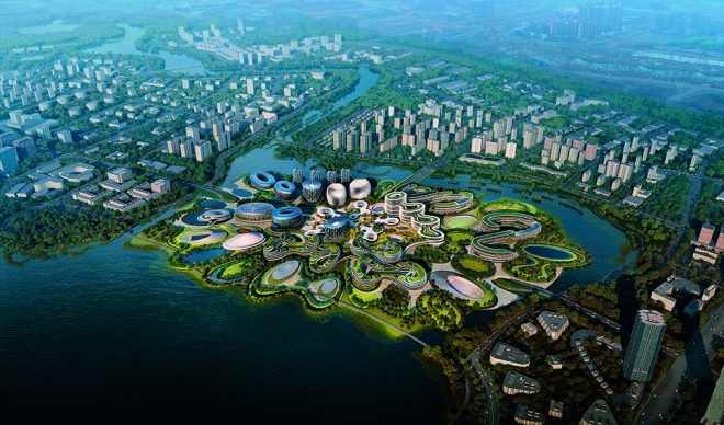 Zaha Hadid Architects, Unicorn Island Masterplan, Chengdu (Cina), 2018 - in corso © Zaha Hadid Architects / Render by Negativ