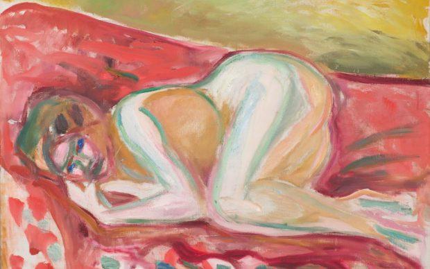Edvard Munch, Crouching Nude, 1917-1919. Oil on canvas, 70 x 90 cm. Munchmuseet