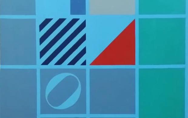 Ermanno Leinardi, Dalla parte del vento celeste piu verde olio su tela cm 80x80, 1984