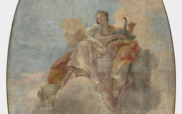Giambattista Tiepolo, Giunone tra le nuvole. Fresque détachée et montée sur parquetage en bois, vers 1735. © 2020 Musée du Louvre/Hervé Lewandowski, dettaglio