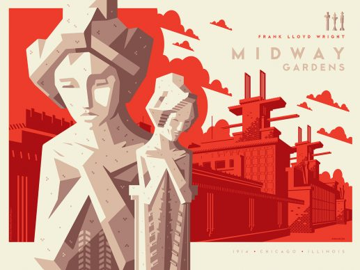 Tom Whalen, Midway Gardens. Courtesy of the Frank Lloyd Wright Foundation and Spoke Art Gallery