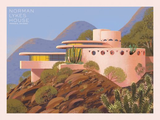 Kim Smith, Norman Lykes House. Courtesy of the Frank Lloyd Wright Foundation and Spoke Art Gallery