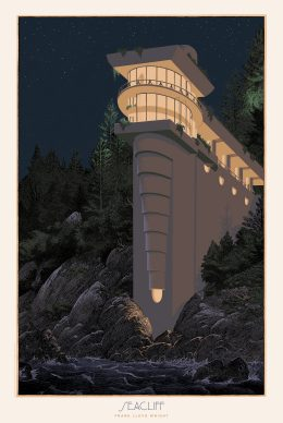 Francois Schuiten, Seacliff. Courtesy of the Frank Lloyd Wright Foundation and Spoke Art Gallery
