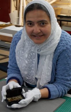 Abeer Eladany with the box, credits University of Aberdeen