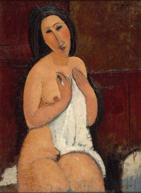Amedeo Modigliani, Nu à la chemise, 1917. Huile sur toile, 92 x 67,5 cm. LaM, Villeneuve d'Ascq, ancienne collection Roger Dutilleul. Photo Philip Bernard