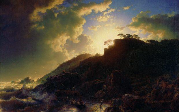 Andreas Achenbach, Tramonto dopo la tempesta sulla costa della Sicilia, 1853. New York, Metropolitan Museum of Art (Heritage Images:Heritage Art:akg-images)