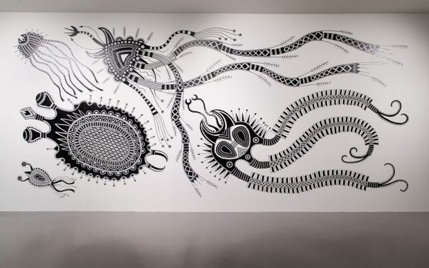 Cemelesai Takivalet, Virus Series, 2020, paint on wall, 900×400 cm. Courtesy of the Artist and Taipei Fine Arts Museum