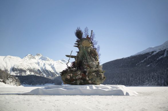 Damien Hirst,The Monk, 2014. Installation image of Lake St. Moritz, 2020. Photographed by Felix Friedmann © Damien Hirst and Science Ltd. All rights reserved, DACS 2020
