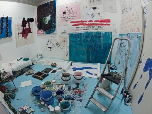 Exorcism of the last painting I ever made, 1996 Performance, dimensions of room. 390 × 430 cm (153.50 × 169.25 in), other dimensions variable. © Tracey Emin. All rights reserved, DACS/Artimage 2020