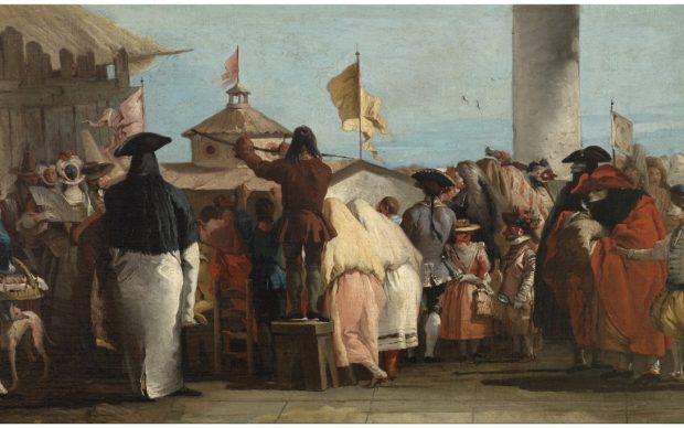 Giambattista Tiepolo, Il mondo novo, 1765 ca. olio su tela, 34x58,3 cm. Museo Nacional del Prado, Madrid