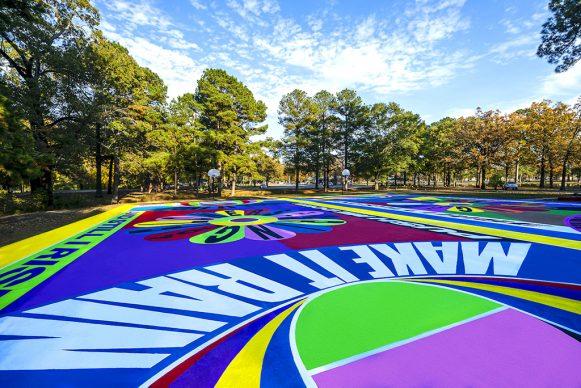 Basketball Art Court by Lakwena in Pine Bluff. Photo credits Justkids.art