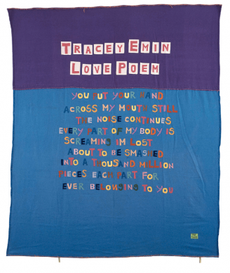 Love Poem, 1996 Appliquéd blanket, 243.8 × 243.8 cm (96 × 96 in). © Tracey Emin. All rights reserved, DACS/Artimage 2020