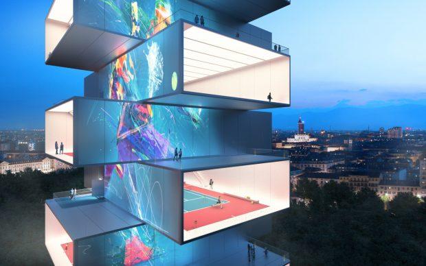 Playscraper Tennis Tower. Concept Design, 2020. Architectural Design CRA-Carlo Ratti Associati Creative. Consultancy Italo Rota. Renderings by CRA Gary di Silvio
