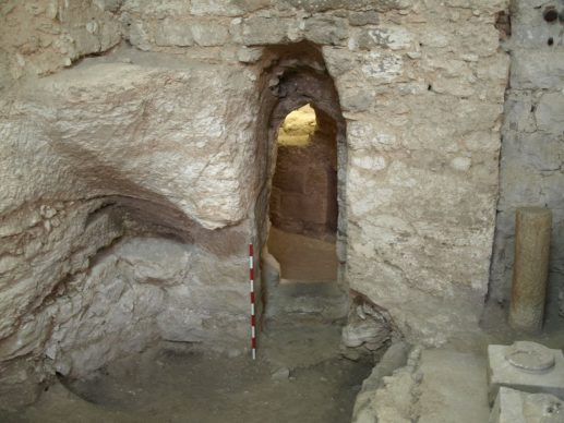 The first-century house at the Sisters of Nazareth site, showing the rock-cut doorway and to its left part of the natural cav reworked to form components of it. Copyright K. R. Dark