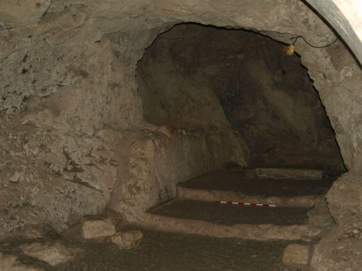 The  fourth-century and later cave church at the Sisters of Nazareth site. Copyright K. R. Dark