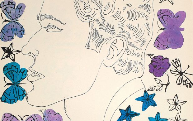 Andy Warhol. Love, Sex, and Desire. Drawings 1950–1962. P. 1 Unknown Male with Stamps, ca. 1958. Copyright: © The Andy Warhol Foundation for the Visual Arts, Inc. Courtesy Taschen