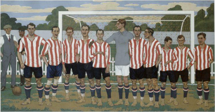 José Arrue, Equipo del Athletic Club, 1915. Gouache sobre papel, 52,5 x 103,5 cm. Colección Athletic Club Museoa-ren Bilduma © José Arrue