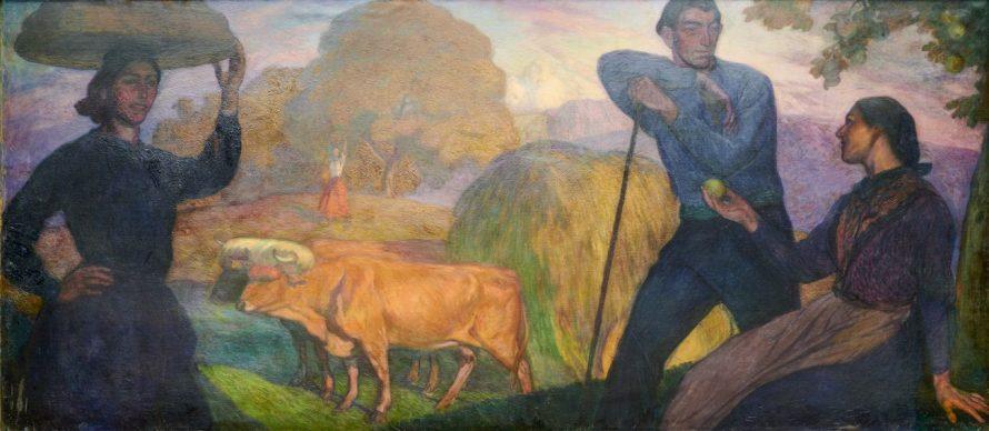 Aurelio Arteta, Eva arratiana, 1913. Óleo sobre lienzo, 152 x 286 cm. Colección Sociedad Bilbaina