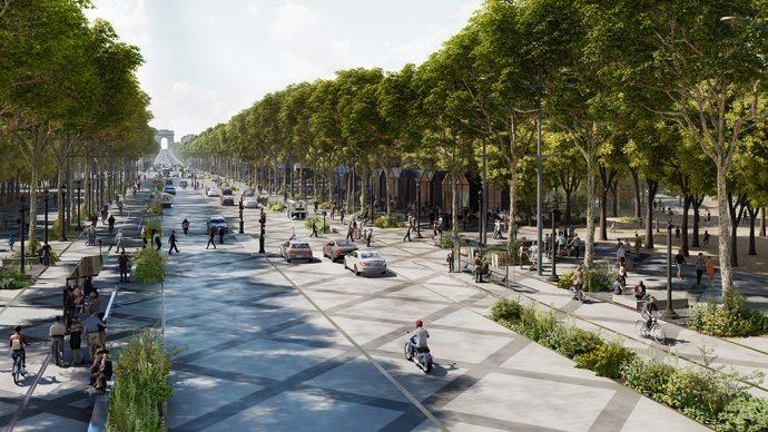 Bas des Champs Élysées bird view ©PCA-STREAM