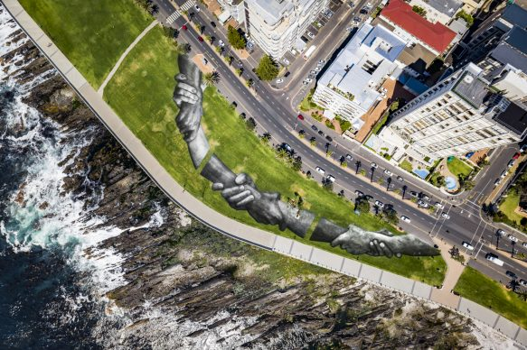 Beyond Walls project by Saype. Cape Town (South Africa). Credit: Valentin Flauraud for Saype