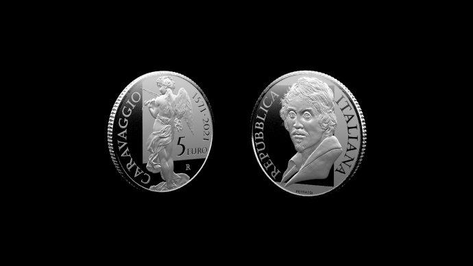 La moneta dedicata a Caravaggio. Immagine Poligrafico e Zecca dello Stato