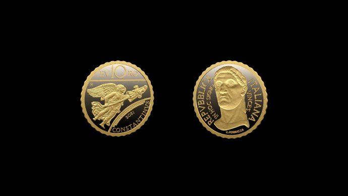 La moneta dedicata a Costantino – Serie Imperatori. Immagine Poligrafico e Zecca dello Stato