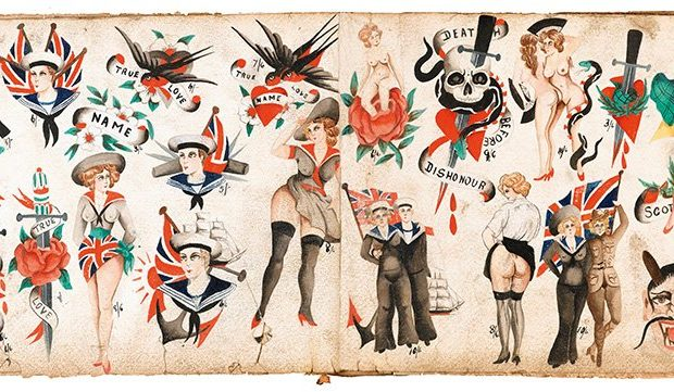 TATTOO. 1730s-1970s. Henk Schiffmacher's Private Collection Taschen, 2020, p. 262. An album of original tattoo designs by unidentified British tattoo artist, ca. 1918–20s. Given the dress code back then, the private part of your body was much bigger than it is now. And inside this large private zone, they would put very private tattoos like these. Copyright: Courtesy of the Schiffmacher Tattoo Heritage. Courtesy Taschen