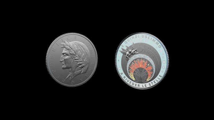 La moneta dedicata a Dante Alighieri. Immagine Poligrafico e Zecca dello Stato