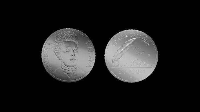 La moneta dedicata a Grazia Deledda. Immagine Poligrafico e Zecca dello Stato