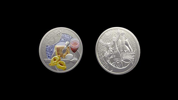 La moneta Emilia-Romagna, tortellino e lambrusco – Serie enogastronomica. Immagine Poligrafico e Zecca dello Stato