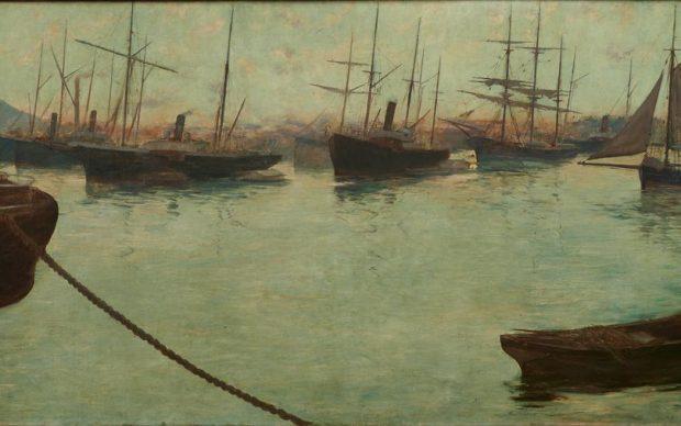 Adolfo Guiard, La ría en Axpe, 1886. Óleo sobre lienzo, 115 x 295 cm. Colección Sociedad Bilbaina
