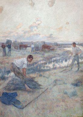 Adolfo Guiard, La siega, ca. 1892. Óleo sobre lienzo, 220,7 x 158,5 cm. Museo de Bellas Artes de Bilbao. Depósito de colección particular