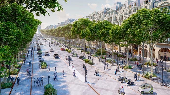 Haut des Champs Élysées bird view ©PCA-STREAM