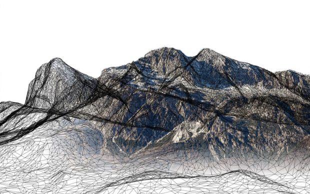 Territoriotipo, le Tofane in una grafica rappresentativa del progetto, la tecnologia svela un modo nuovo di rappresentare e sostenere il patrimonio ambientale. Courtesy Fablab Venezia