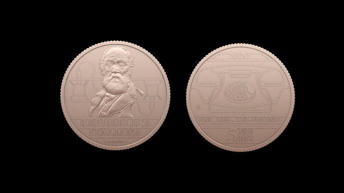 La moneta dedicata al 150° Anniversario dell'invenzione del telefono – Antonio Meucci. Immagine Poligrafico e Zecca dello Stato