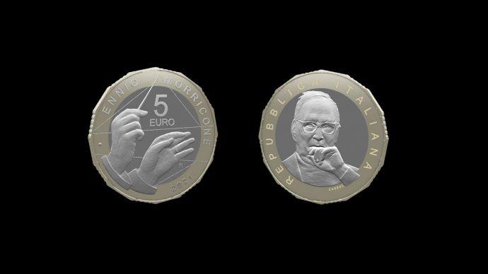 La moneta dedicata a Ennio Morricone –  Serie Artisti Italiani. Immagine Poligrafico e Zecca dello Stato