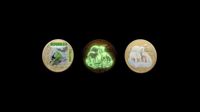 La moneta dedicata all'Orso polare –  Serie Animali in via di estinzione. Immagine Poligrafico e Zecca dello Stato